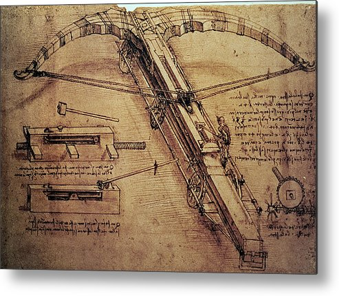 Design Metal Print featuring the painting Design For A Giant Crossbow by Leonardo Da Vinci