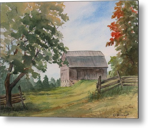 Barn Metal Print featuring the painting Disappearing Heritage by Debbie Homewood
