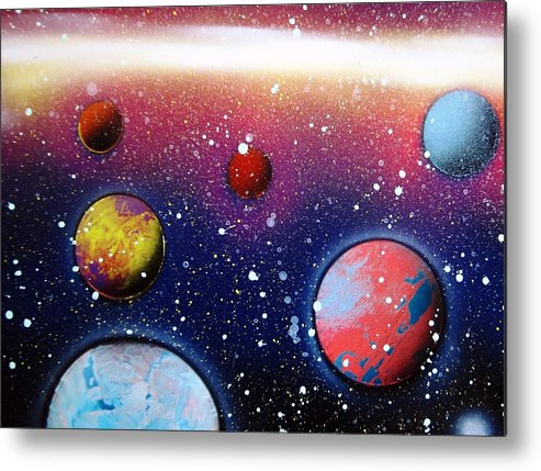 Spray Paint Art Metal Print featuring the painting Distant Planets by Emily Cummings
