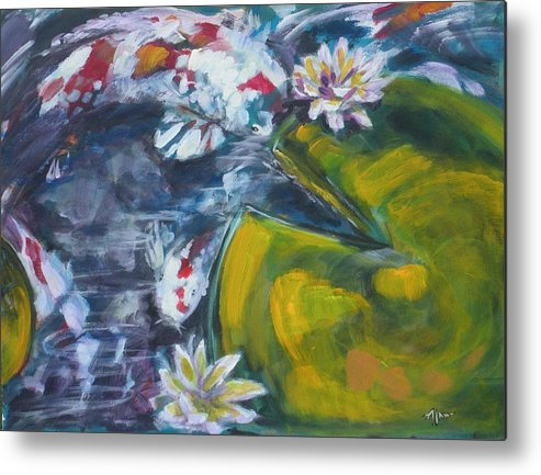 Koi Lily Pad Fish Water Waterscape Green Blue Red Acrylic Canvas Metal Print featuring the painting Don't Be Koi by Alan Scott Craig
