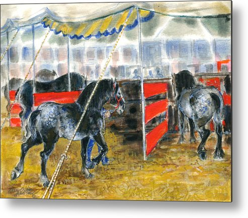 Horses Metal Print featuring the painting Drafts At The Fair by Mary Armstrong
