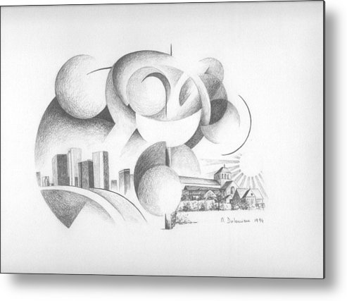 Abstract Metal Print featuring the drawing Dualite by Muriel Dolemieux