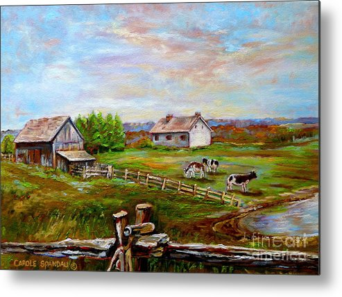 Ile D'orleans Metal Print featuring the painting Eastern Townships Quebec Country Scene by Carole Spandau