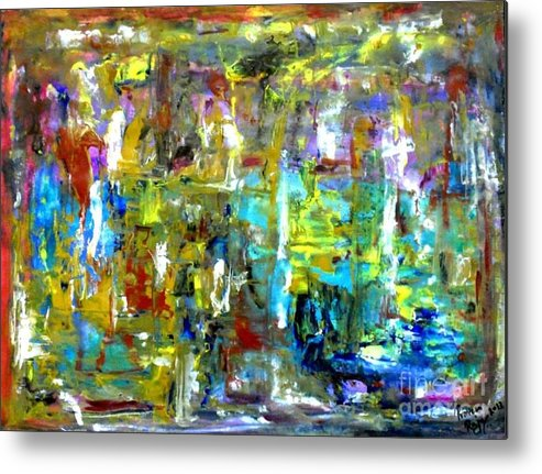 Acrylic Abstract Landscape Vibrant Colors Metal Print featuring the painting Ecosystem by Praveen Raju