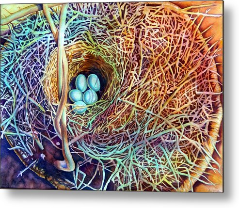 Still Life..birdnest/basket Metal Print featuring the painting Eggs In A Basket by Gail Zavala