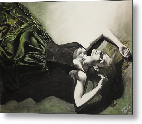 Figure Drawing Metal Print featuring the pastel Emerald Depths by Katie Tkachuk