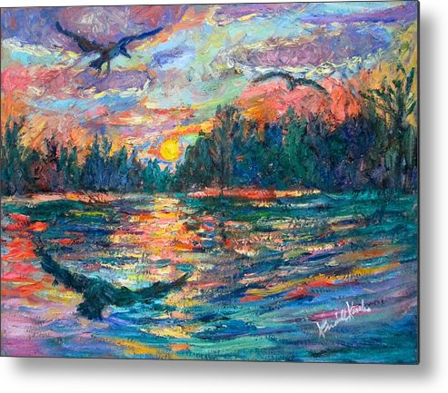 Landscape Metal Print featuring the painting Evening Flight by Kendall Kessler