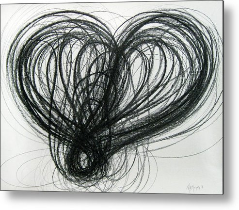 Valentines Metal Print featuring the drawing F-e Of Hearts No. 1 by Michael Morgan