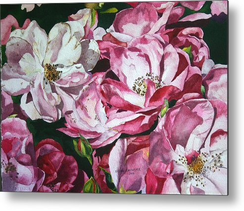 Floral Metal Print featuring the painting Fading Blooms by Helen Shideler