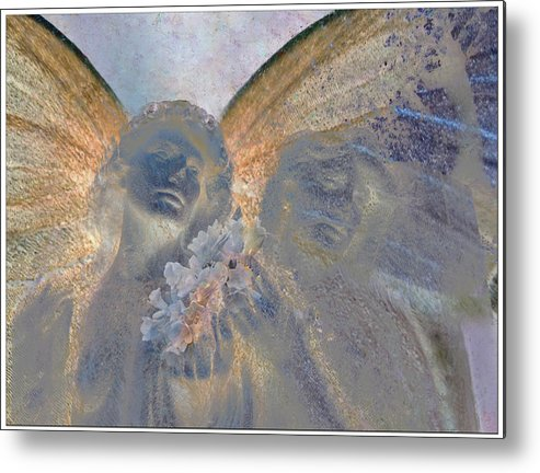 Decorative Metal Print featuring the digital art Fairies With White Flowers by Heike Schenk-Arena