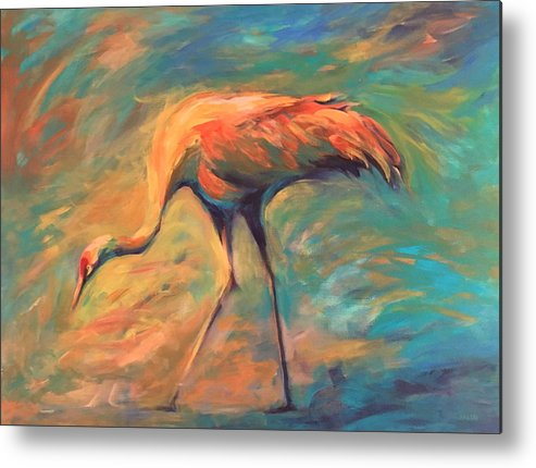Sandhill Crane Metal Print featuring the painting Feathers by Alaskan Raven Studio