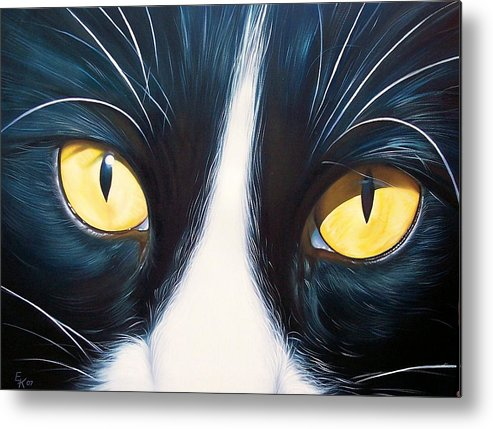 Cat Metal Print featuring the painting Feline Face 2 by Elena Kolotusha