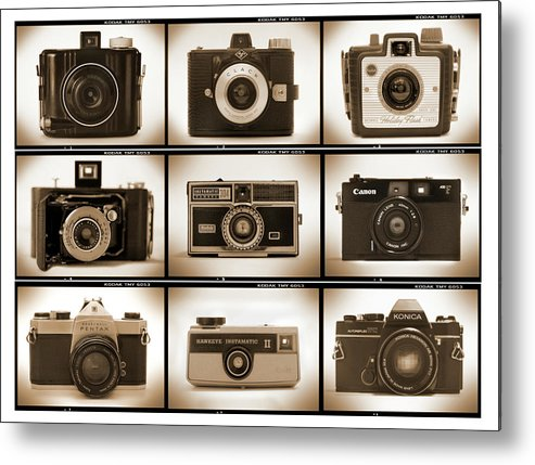 Vintage Cameras Metal Print featuring the photograph Film Camera Proofs 1 by Mike McGlothlen