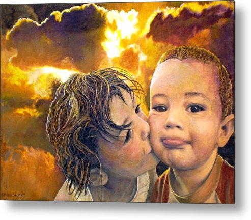 Children Metal Print featuring the painting First Kiss by Michael Durst