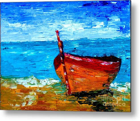 Boat Metal Print featuring the painting Fishing Boat by Inna Montano
