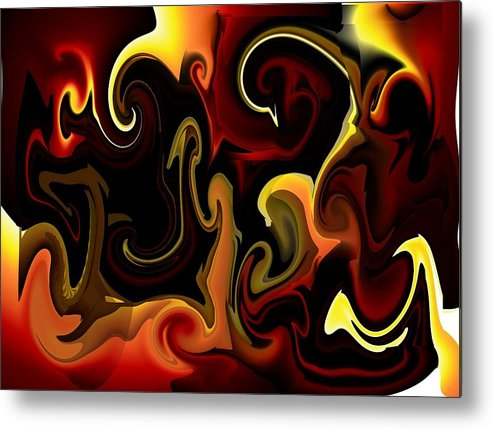 Flames Metal Print featuring the digital art Flames And Faces by Katina Cote