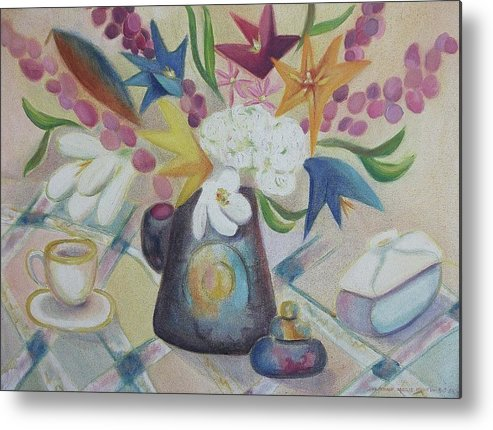 Still Life Metal Print featuring the painting flowers Tin Vase and Tea Cup by Suzanne Marie Leclair