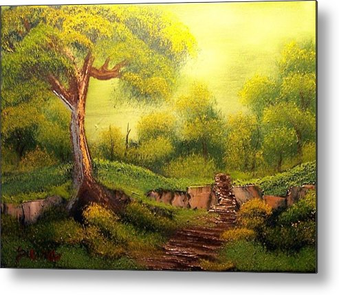 Forest Metal Print featuring the painting Forest Path by Dina Sierra