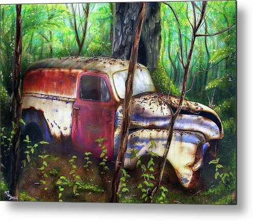 1949 Chevy Metal Print featuring the painting Forgotten by Bryon Lucas