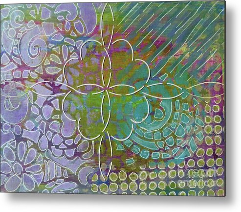 Contemporary Art Metal Print featuring the mixed media Four Hearts Intertwined by Desiree Paquette