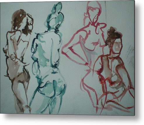 Nude Figures Metal Print featuring the painting Four Nude Figures by Aleksandra Buha
