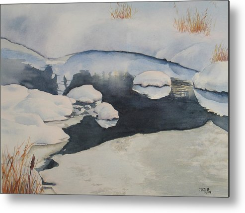 Winter Metal Print featuring the painting Freeze Up by Debbie Homewood