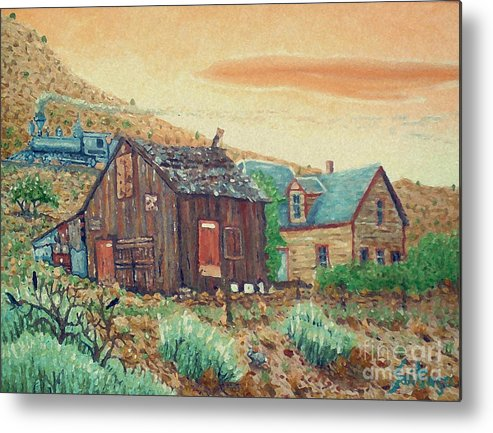 Southwest Metal Print featuring the painting Ghost Train by Santiago Chavez