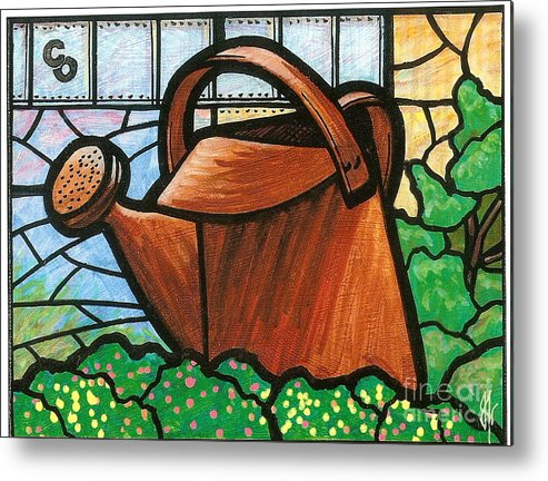 Gardening Metal Print featuring the painting Giant Watering Can Staunton Landmark by Jim Harris
