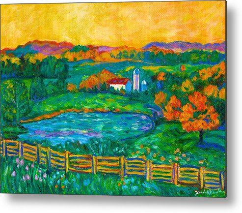 Landscape Metal Print featuring the painting Golden Farm Scene Sketch by Kendall Kessler