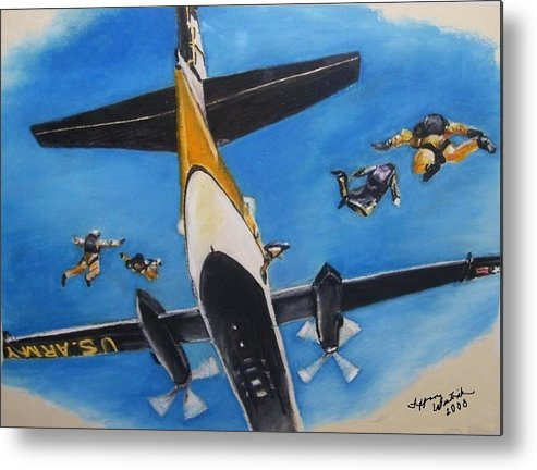 Metal Print featuring the painting Golden Knights Army Parachute Team by Tiffany Westrich Founder and CEO