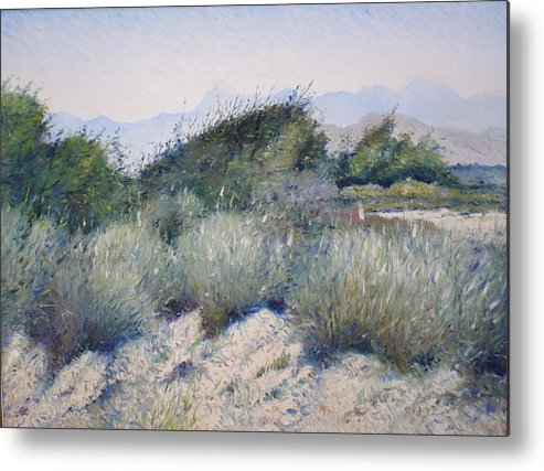 Oman Landscapes Metal Print featuring the painting Hajar Mountains Oman 2002 by Enver Larney