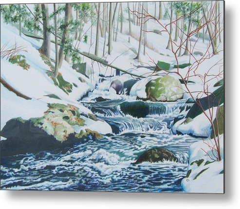 Snow Metal Print featuring the mixed media Hamburg Mountain Stream by Constance Drescher