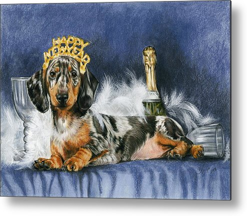 Dog Metal Print featuring the mixed media Happy New Year by Barbara Keith