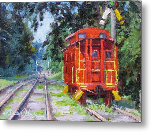 Railroading Metal Print featuring the painting Happy Rails by L Diane Johnson