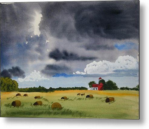 Fields Metal Print featuring the painting Haying Time by Michele Turney
