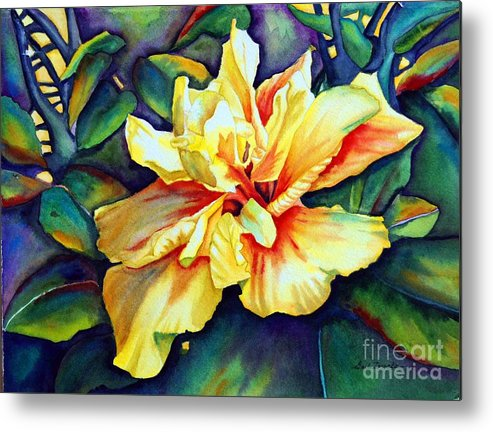 Floral Metal Print featuring the painting Heart Of Fire by Gail Zavala