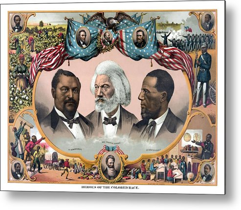 Black History Metal Print featuring the painting Heroes Of The Colored Race by War Is Hell Store