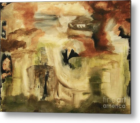 Abstract Metal Print featuring the painting Hidden Places - Contemporary Modern Abstract Art Painting by Itaya Lightbourne
