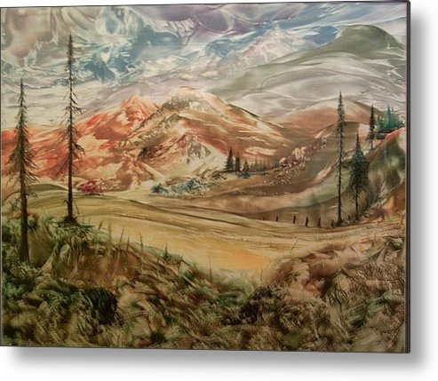 Landscape Metal Print featuring the painting High Meadowland by John Vandebrooke