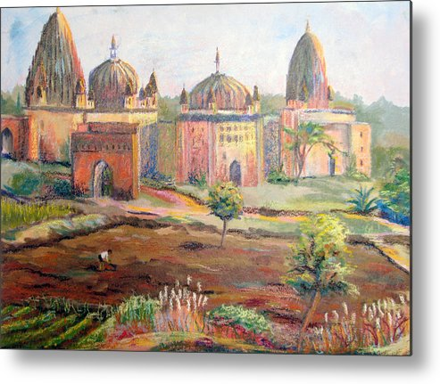Landscape Metal Print featuring the painting Hoeing By Hand In Orchha India by Art Nomad Sandra Hansen