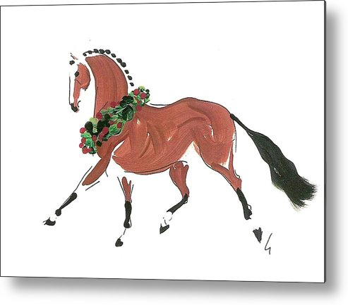 Bay Horse Metal Print featuring the painting Holiday Bay by Liz Pizzo