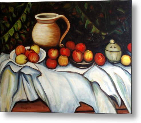 Still Life Metal Print featuring the painting Homage To Cezanne by Lia Marsman