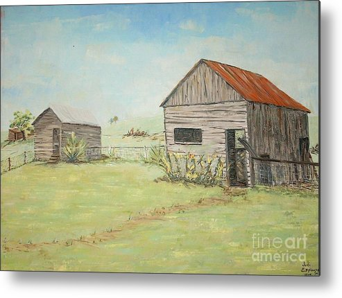 2 Small Sheds; Light Green Yard; Old Buildings Metal Print featuring the painting Homeplace - The Smokehouse And Woodhouse by Judith Espinoza