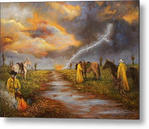 Desert Storm Metal Print featuring the painting Hot Coffee And Wet Bedroll by Lucille Owen-Huston