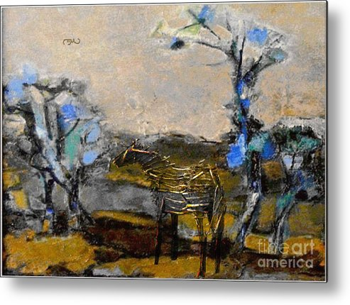 Modern Painting Metal Print featuring the mixed media In The Field 30 by Pemaro