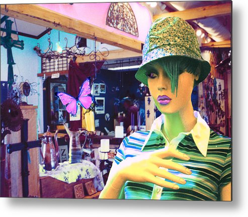 Hat Metal Print featuring the digital art In The Shop by Sarah Crumpler