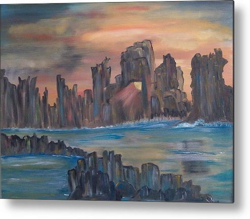 Abstract/landscape Metal Print featuring the painting Jagged Beauty by Mikki Alhart
