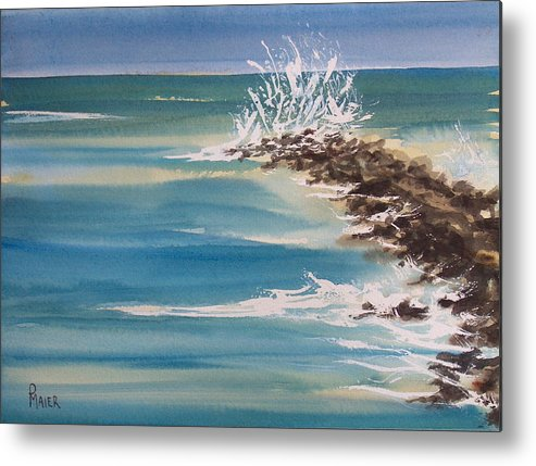 Ocean Metal Print featuring the painting Jersey Rocks by Pete Maier