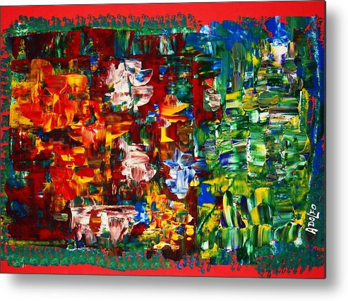 Abstract-intense-power Colors-modern Art. Metal Print featuring the painting ..journey From Red To Green.. by Adolfo hector Penas alvarado