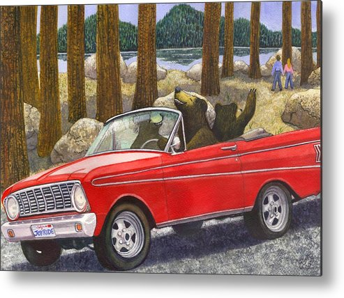 Bears Metal Print featuring the painting Joy Ride by Catherine G McElroy